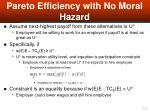 pareto efficiency with no moral hazard53