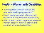 health women with disabilities