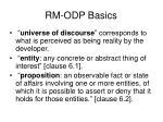 rm odp basics