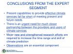 conclusions from the expert segment