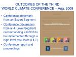 outcomes of the third world climate conference aug 2009