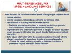 multi tiered model for speech language services