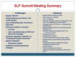 slp summit meeting summary