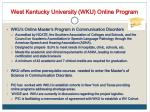 west kentucky university wku online program