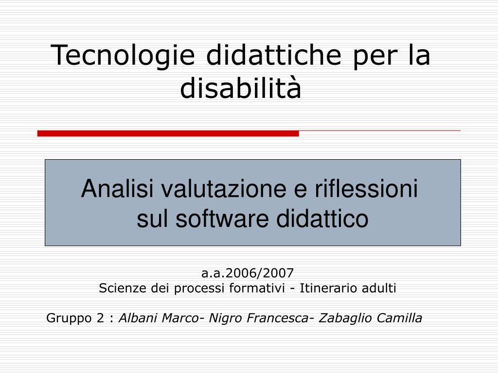 tecnologie didattiche per la disabilit l.
