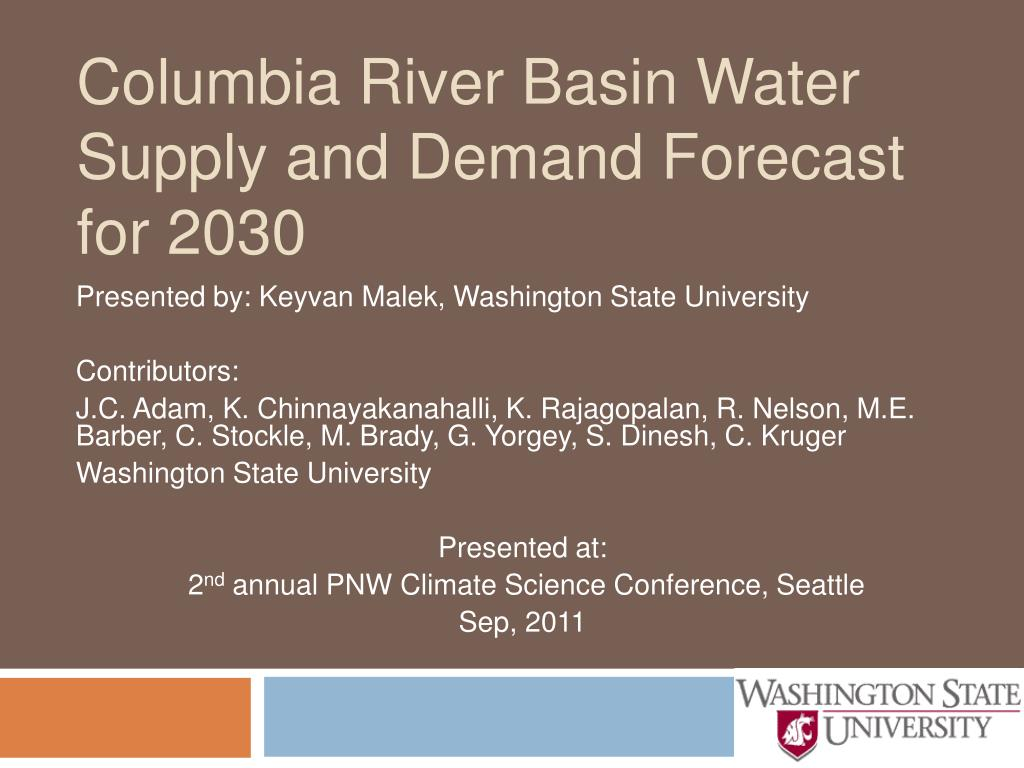columbia river basin water supply and demand forecast for 2030 l.