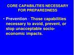 core capabilities necessary for preparedness