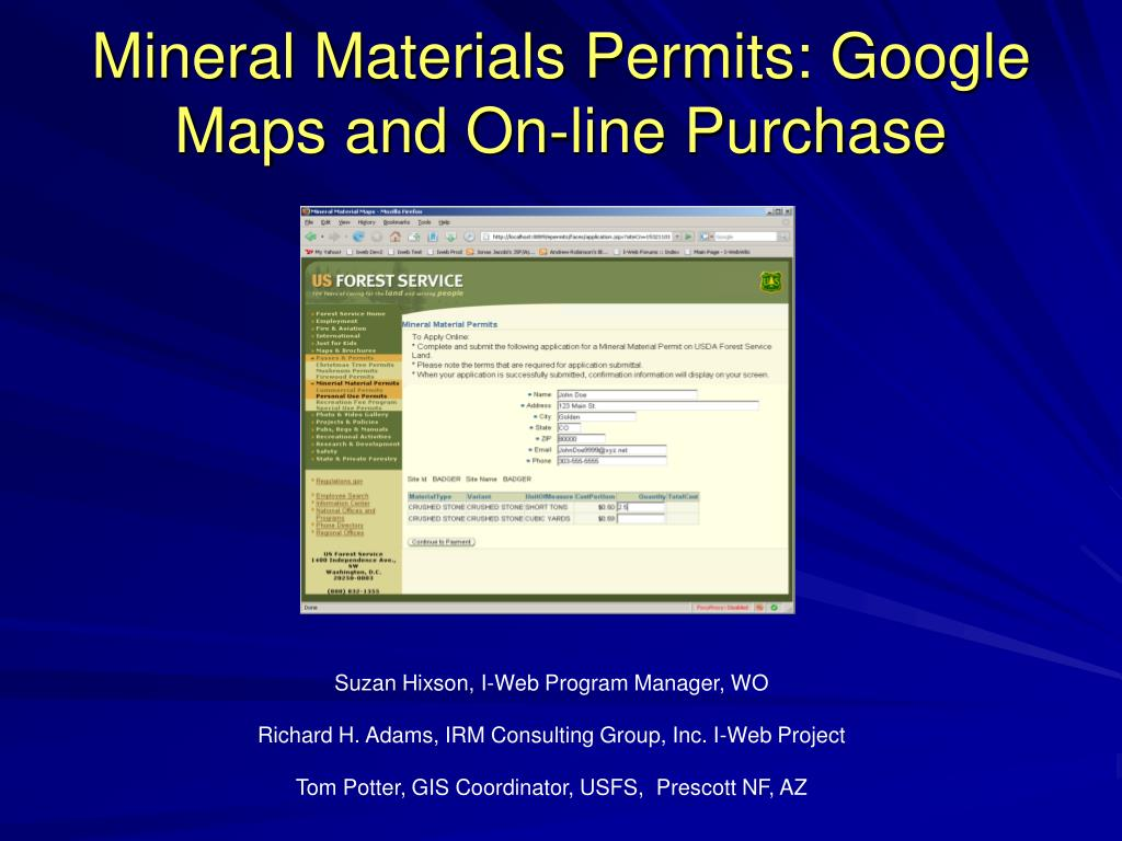 mineral materials permits google maps and on line purchase l.