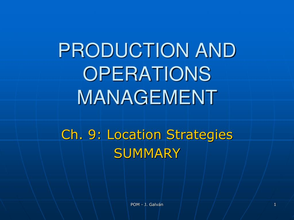 production and operations management l.
