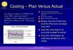 costing plan versus actual