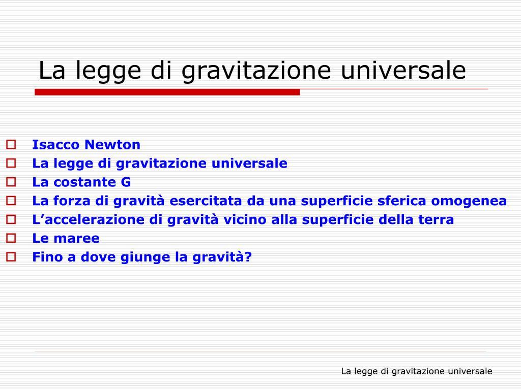 la legge di gravitazione universale l.