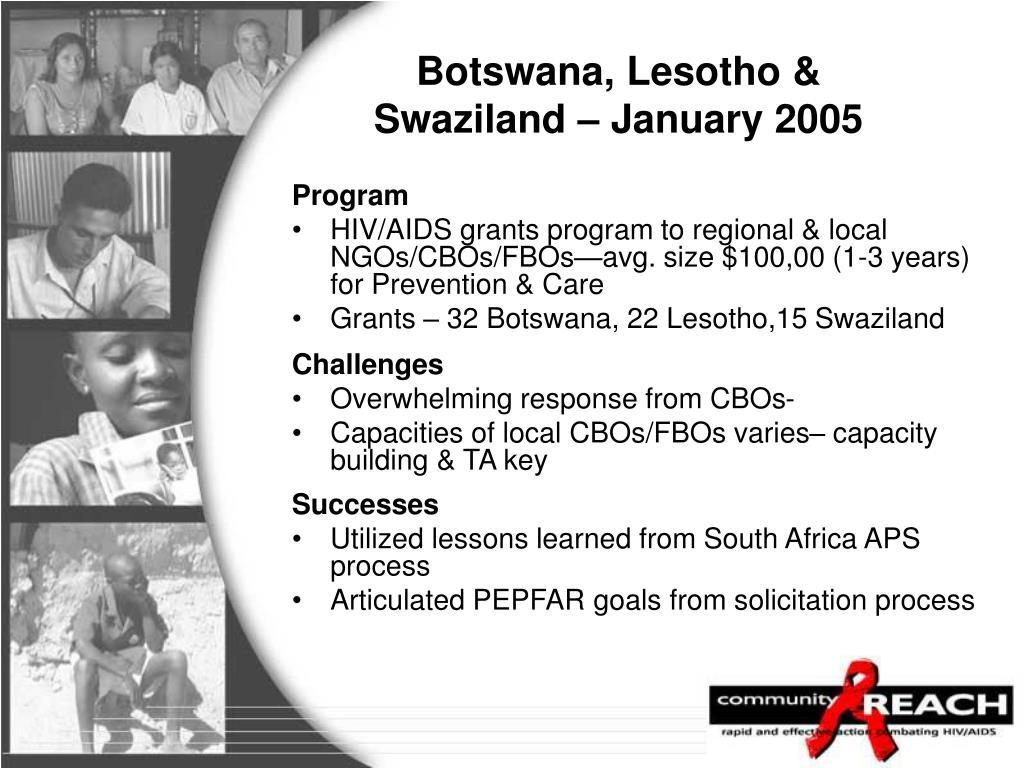 Botswana, Lesotho & Swaziland – January 2005