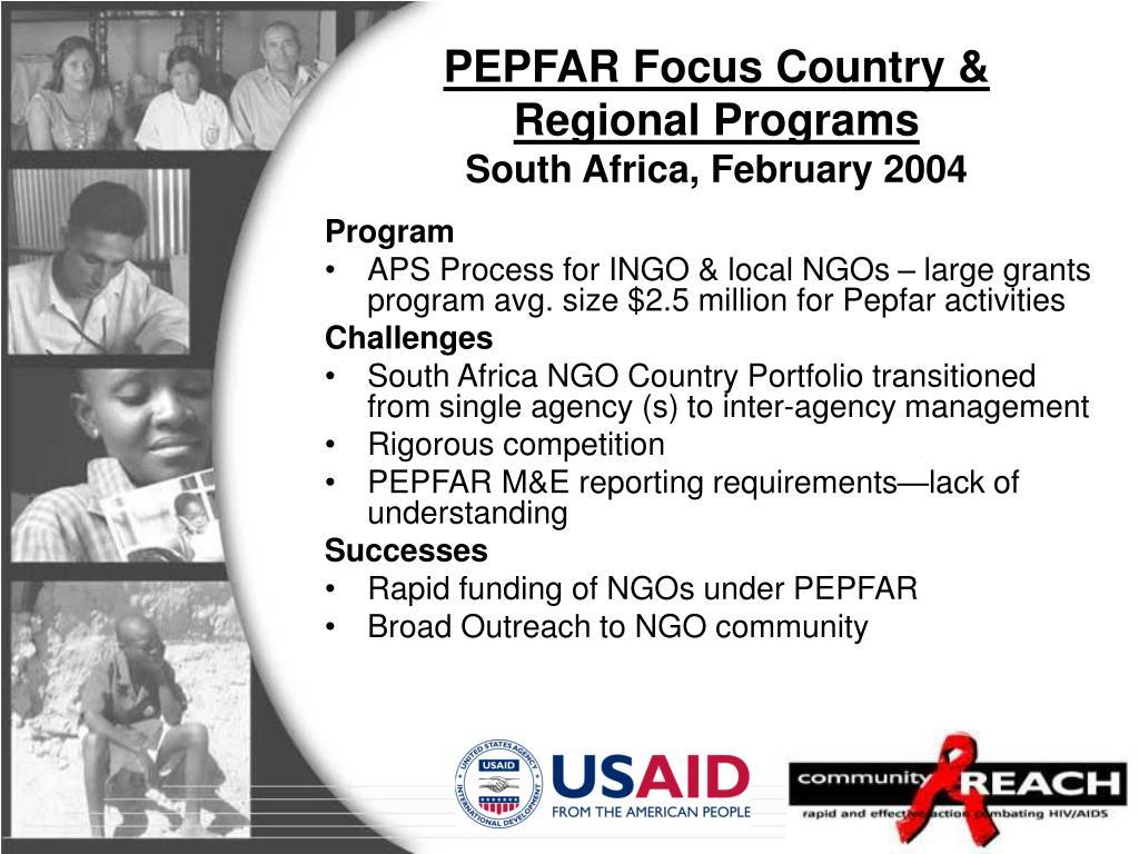 PEPFAR Focus Country & Regional Programs