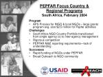 pepfar focus country regional programs south africa february 2004