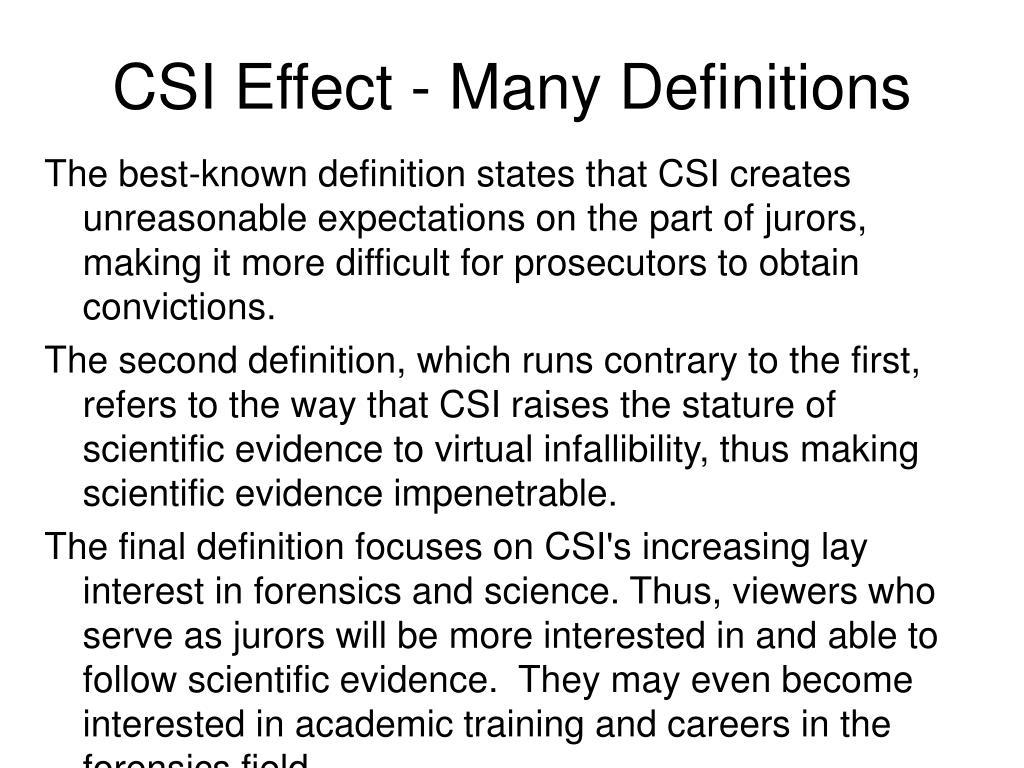 CSI Effect - Many Definitions