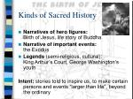 kinds of sacred history