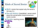 kinds of sacred stories