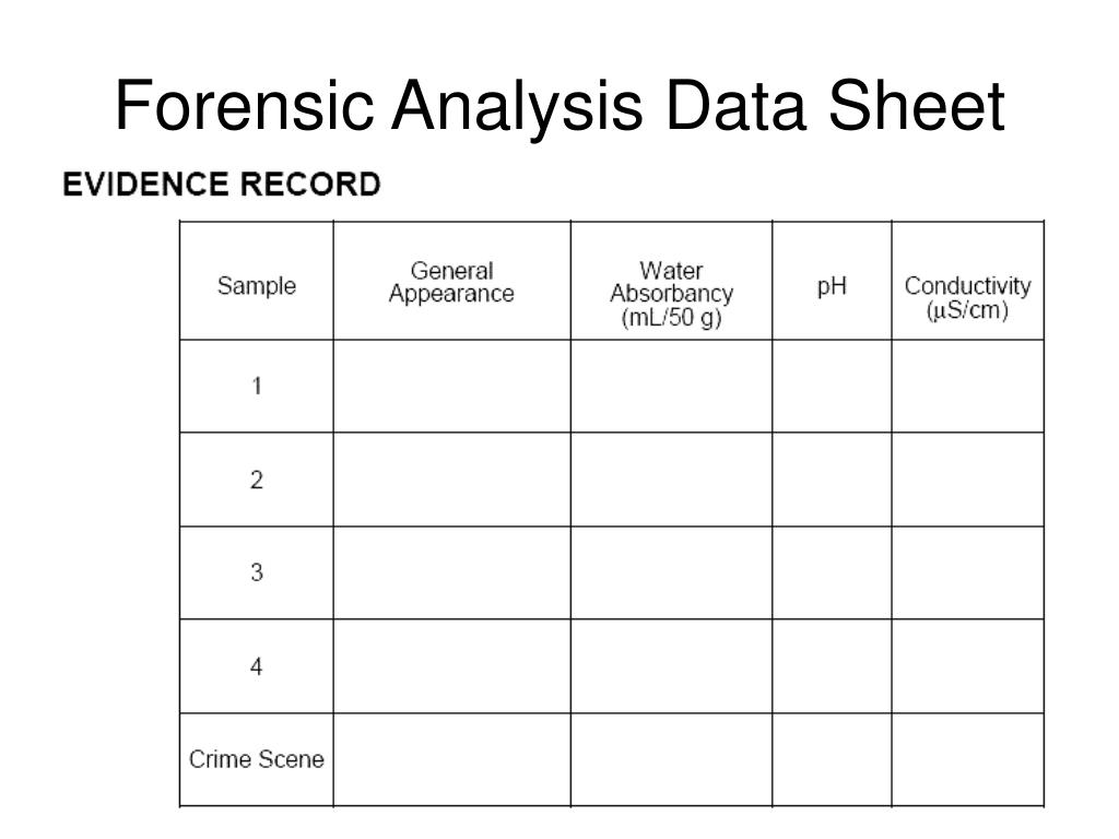 Forensic Analysis Data Sheet