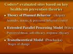 coders evaluated sites based on key healthcom prevention theories