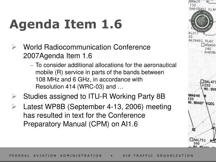 Agenda item 1 6