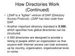 how directories work continued