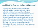 an effective teacher in every classroom