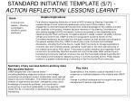 standard initiative template 5 7 action reflection lessons learnt