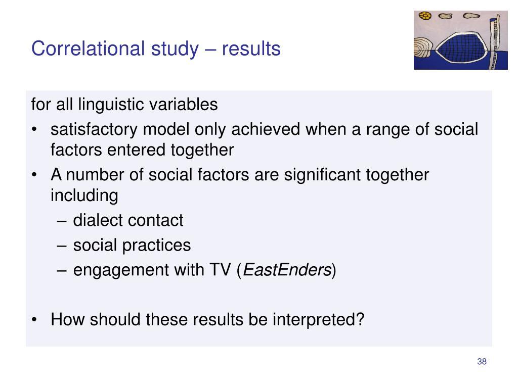 Correlational study – results
