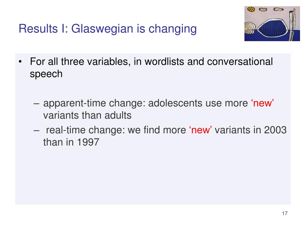 Results I: Glaswegian is changing