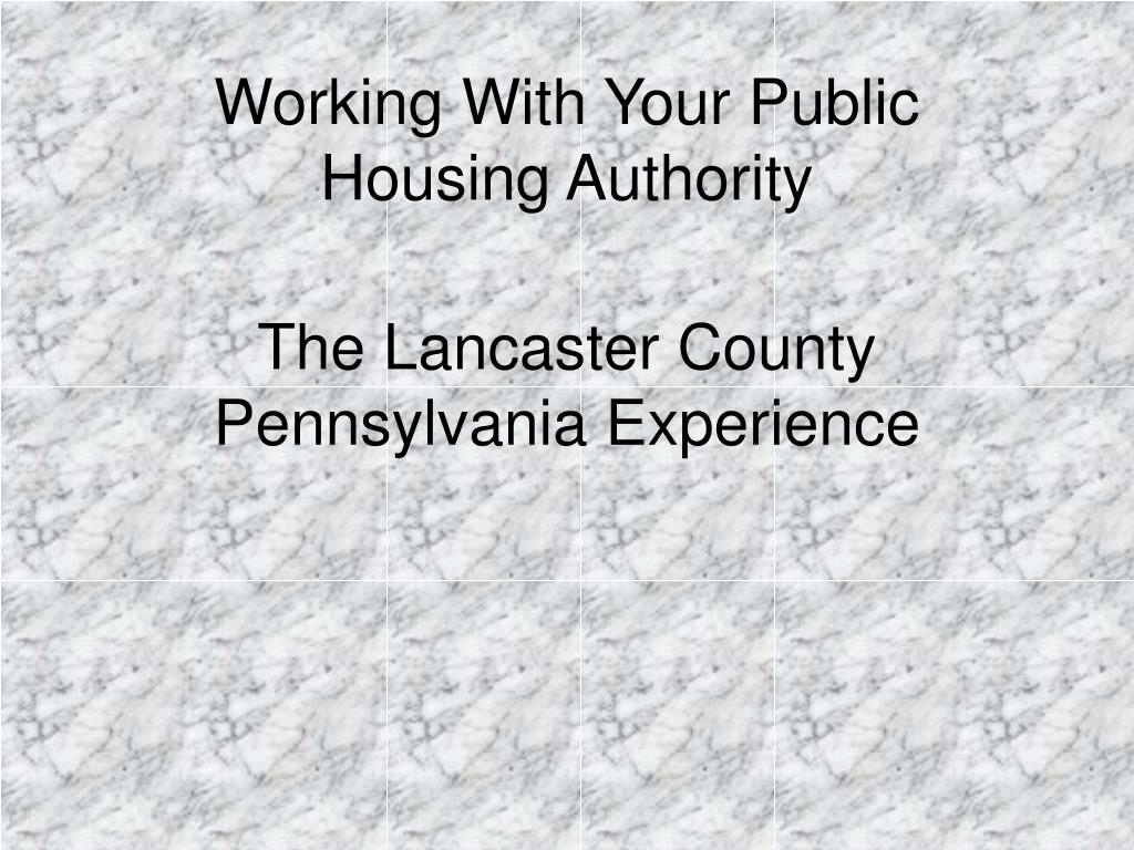 working with your public housing authority l.