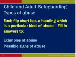 child and adult safeguarding types of abuse