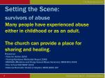 setting the scene survivors of abuse