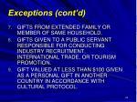 exceptions cont d