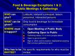 food beverage exceptions 1 2 public meetings gatherings