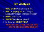gift analysis