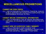 miscellaneous prohibitions