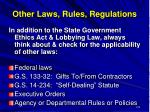 other laws rules regulations