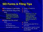 sei forms filing tips
