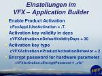 einstellungen im vfx application builder