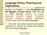 language policy planning and implications