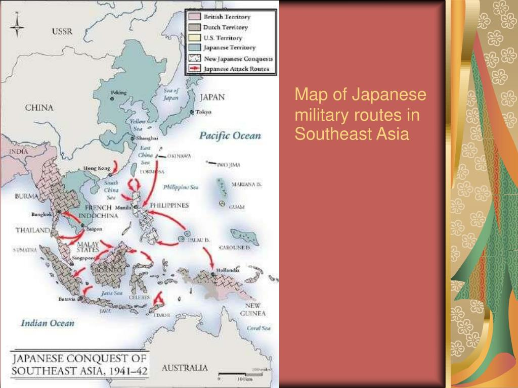 Map of Japanese military routes in Southeast Asia