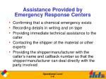 assistance provided by emergency response centers