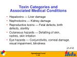 toxin categories and associated medical conditions44