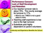 performance concern lack of staff development and retention