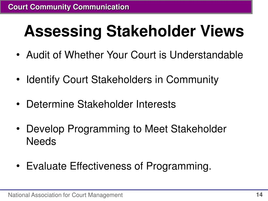 Assessing Stakeholder Views