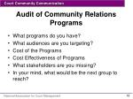 audit of community relations programs