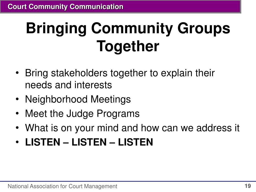 Bringing Community Groups Together