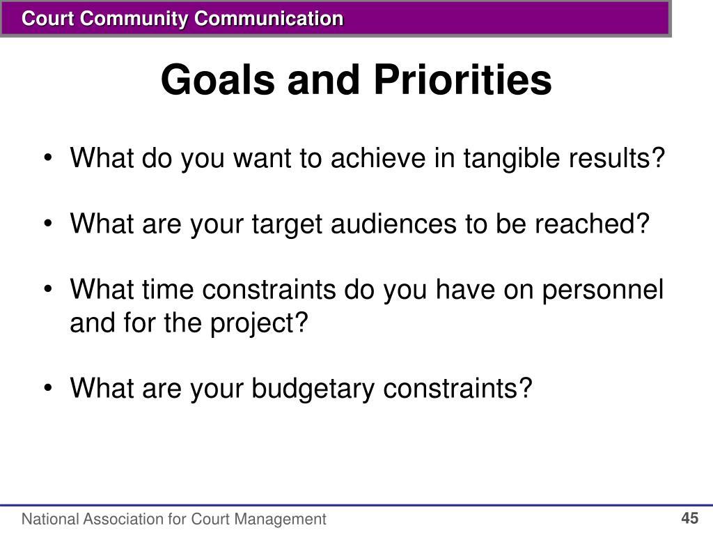 Goals and Priorities