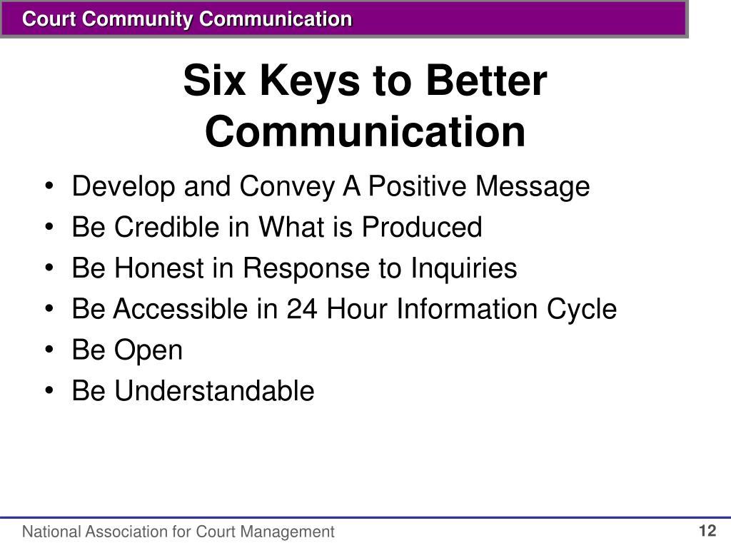 Six Keys to Better Communication