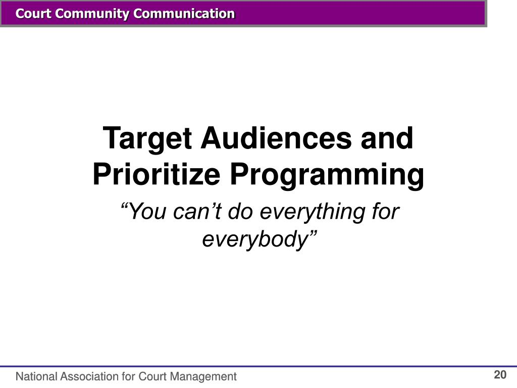 Target Audiences and Prioritize Programming